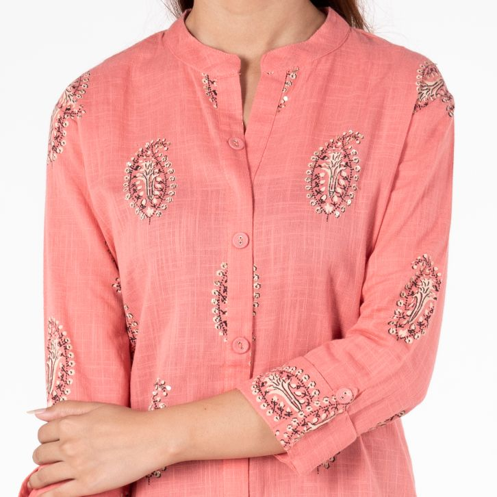 Light Pink Long Kurti with Minimal Work