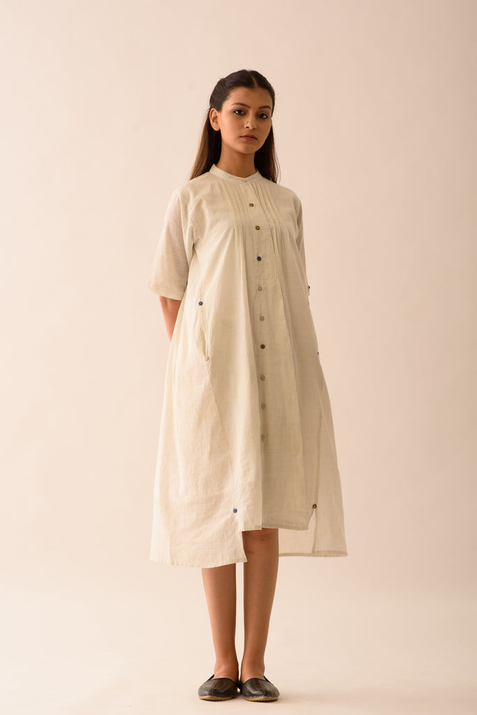 STRIPE SHIRT DRESS WITH LINING