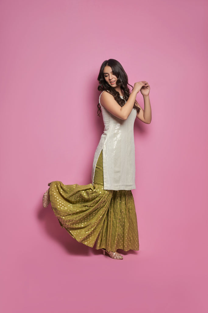 Sequin Kurti with Banarasi Sharara