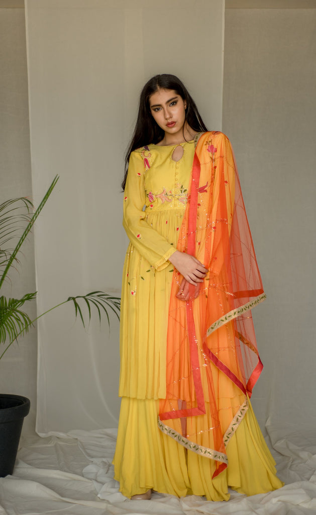 YELLOW KURTA, HANDKERCHIEF SHARARA SET