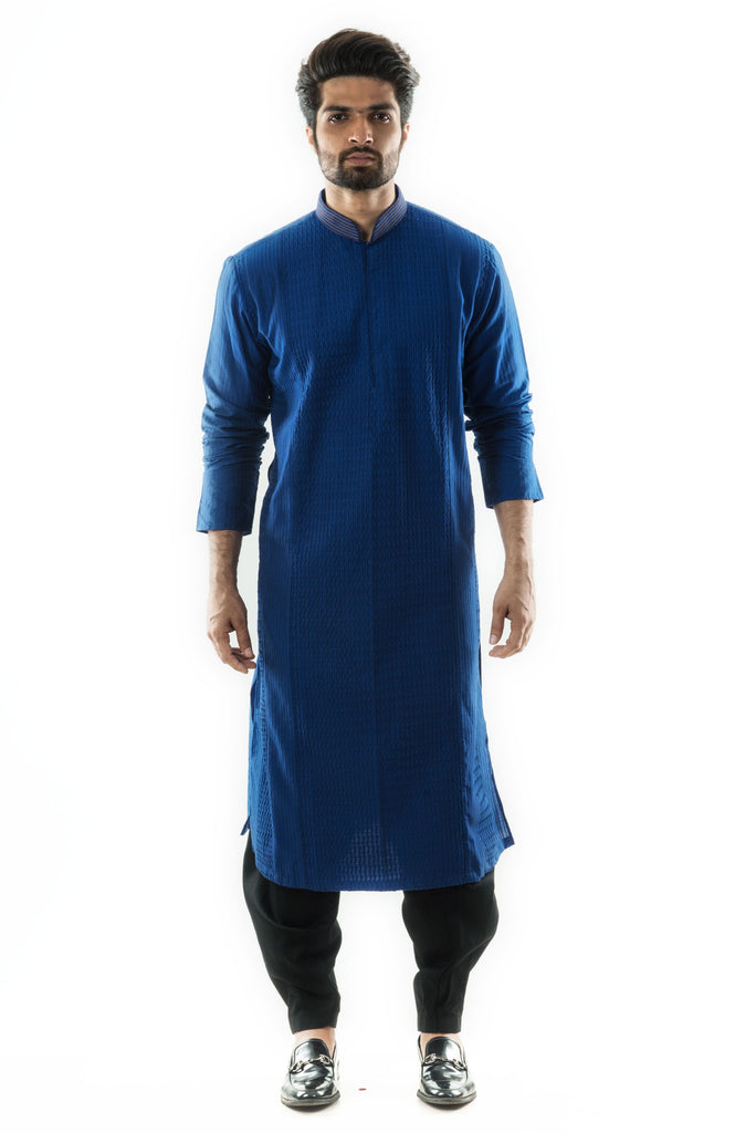 Blue Pintuck & Stitchlines Kurta paired with a Black Salwar