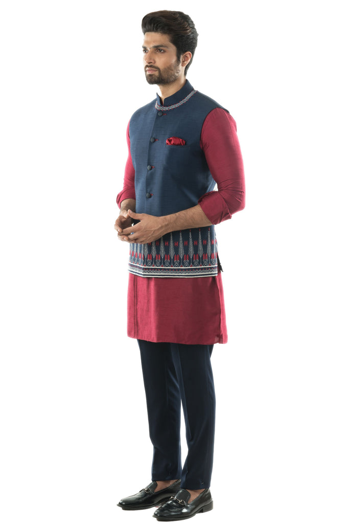 Blue Aztec Hand Embroidered Nehru Jacket