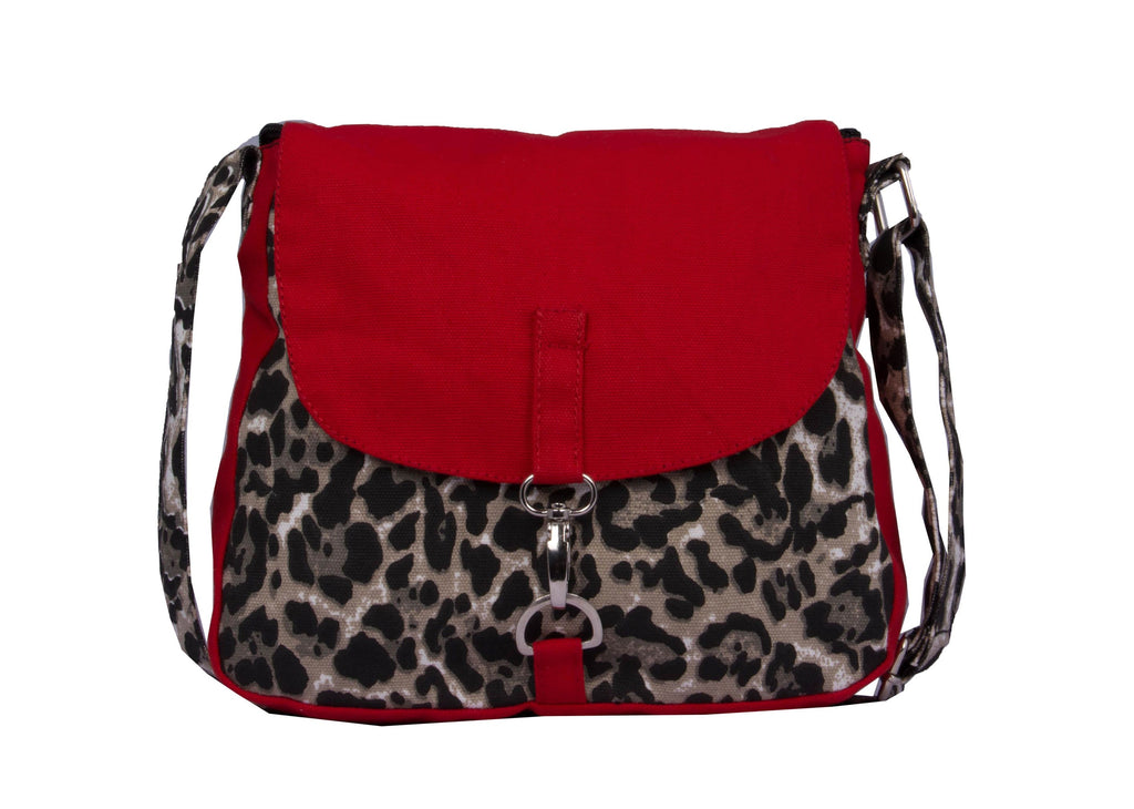 Canvas Red Sling Bag