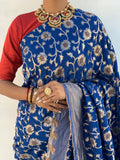 Half plain half zari weave blue saree