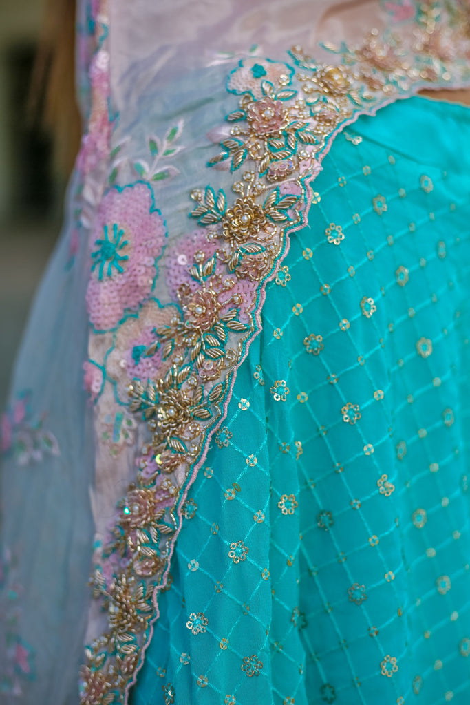 Embroidered Cape Lehenga