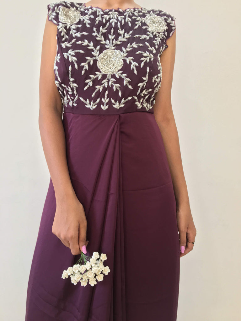 Plum front pleated gown with sliver handwork
