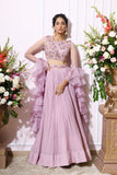 Lavender hand embroidered lehenga set with a frill dupatta