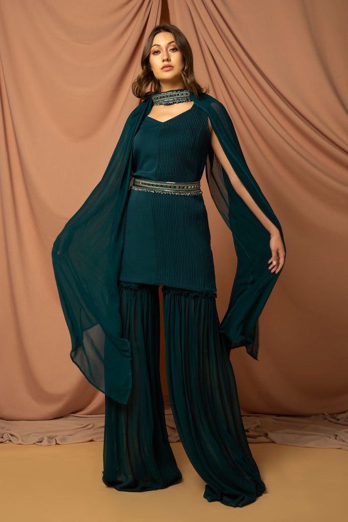 Bottle green one sided pintuck Kurta along with flared sharara with belt & stole