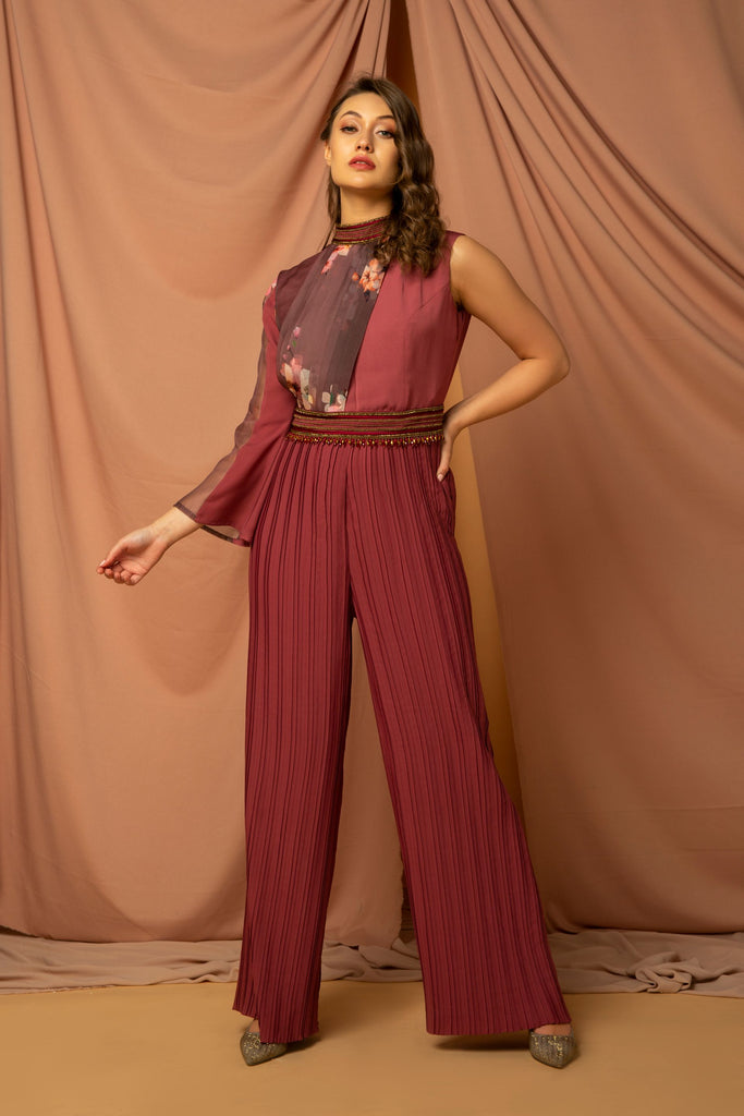 Front printed organza pleated jumpsuit with pleated bottom