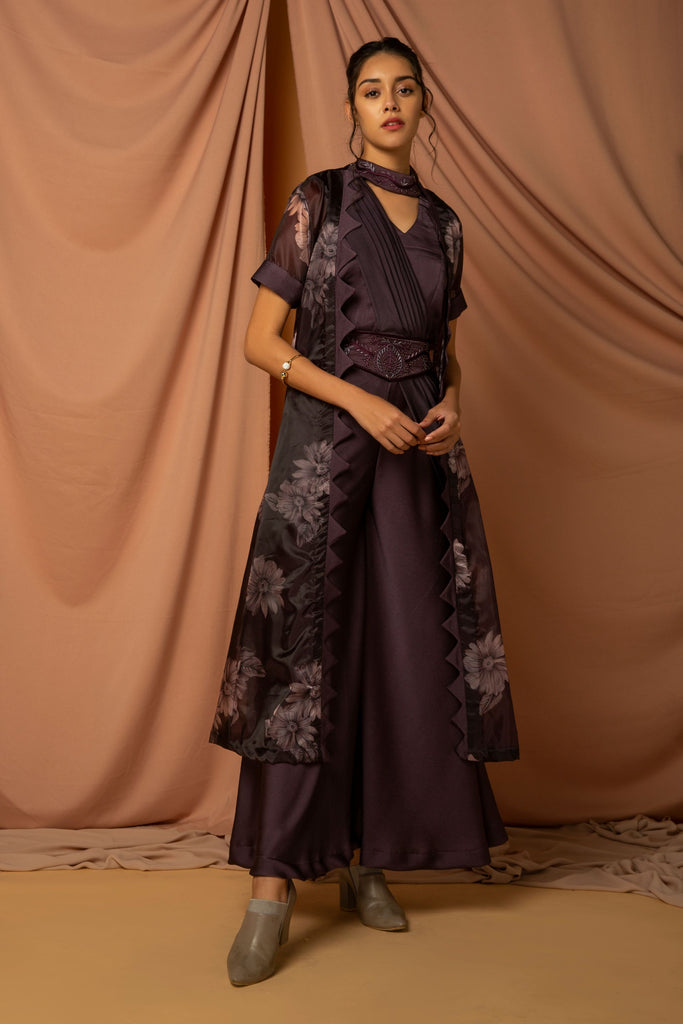 Metallic jumpsuit with front pleated sari drape styled with belt