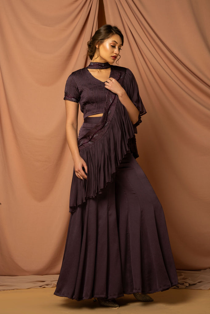 Metallic purple front flare sari attached to kalidaar pants & blouse