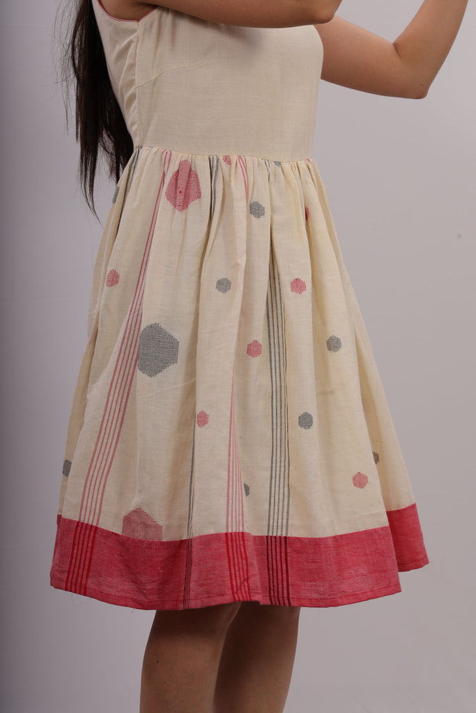 WOMEN WHITE HANDLOOM JAMDHANI DRESS