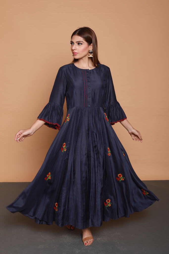 Navy blue Voile Silk Dress