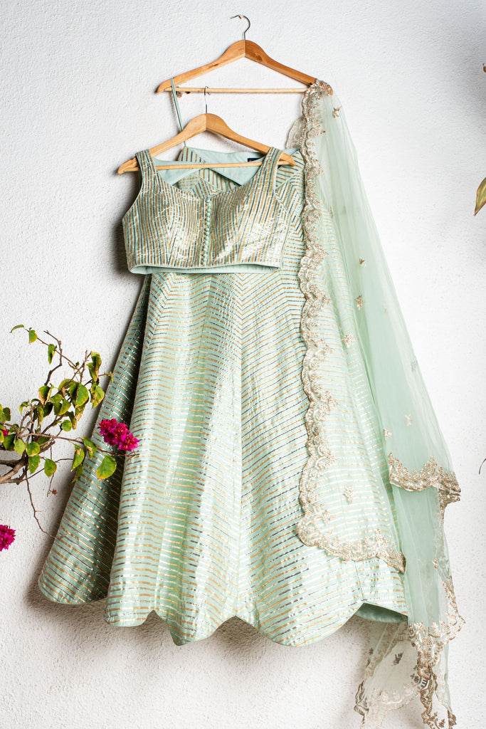 GLACIAL GREEN GOTA PATTI LEHENGA SET WITH EMBROIDERED DUPATTA