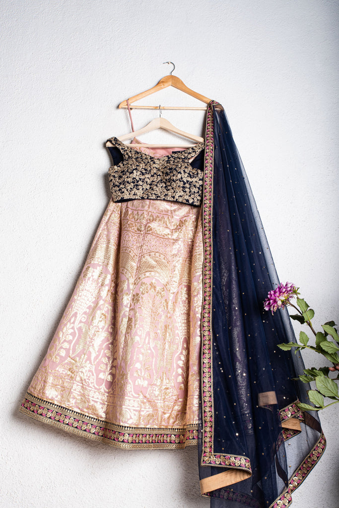 LEMONDADE PINK CHANDERI LEHENGA WITH OFFSHOULDER MIDNIGHT BLUE BLOUSE & DUPATTA