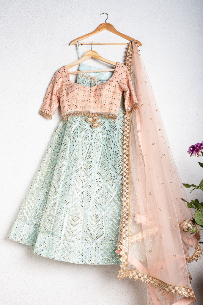 AQUA SKY BLUE GOTA PATTI LEHENGA WITH SALMON PINK GOTA BLOUSE AND SALMON PINK DUPATTA