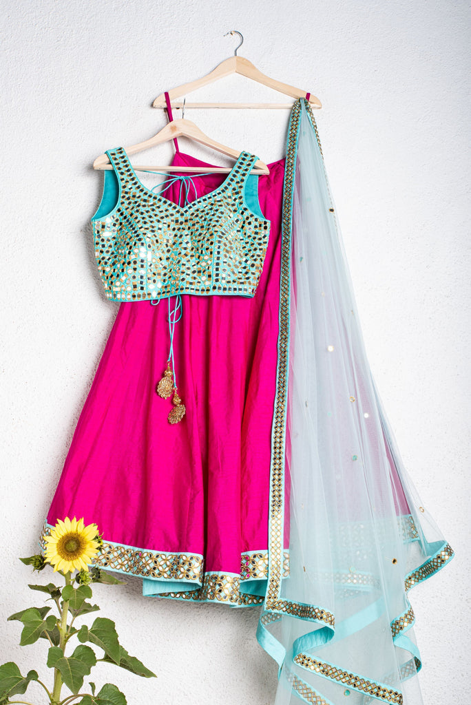 MAGENTA PINK LEHENGA WITH TURQUOISE BLUE MIRRORWORK BLOUSE AND LIGHT BLUE DUPATTA