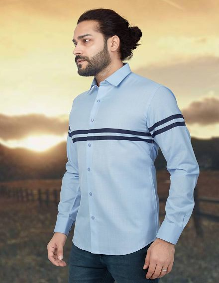 Shades Of Blue Cotton Shirt