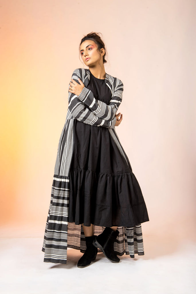 Black and White Stripe Overlayer With Tier Dress