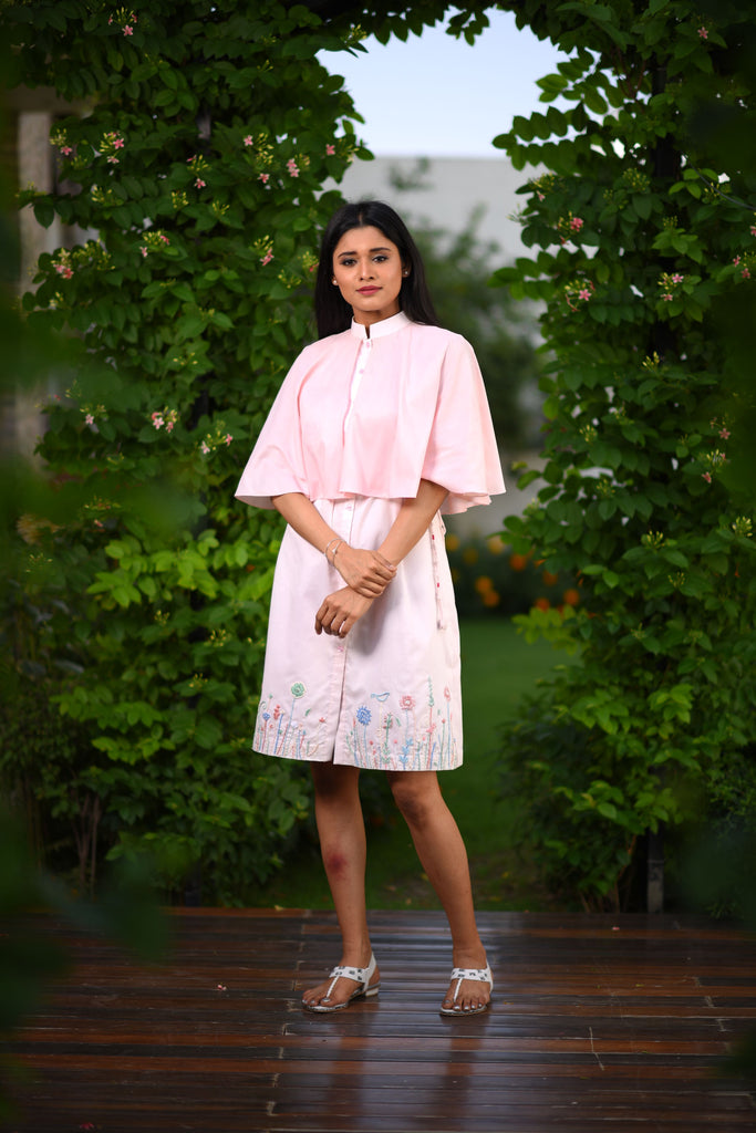 Hand embroidered shirt dress with attached cape