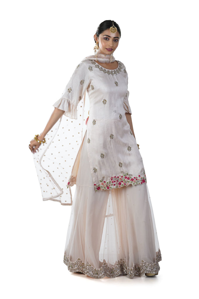 Light Peach Floral Hand Embroidered Kurta & Scallop Bordered Sharara Set paired with a Dupatta