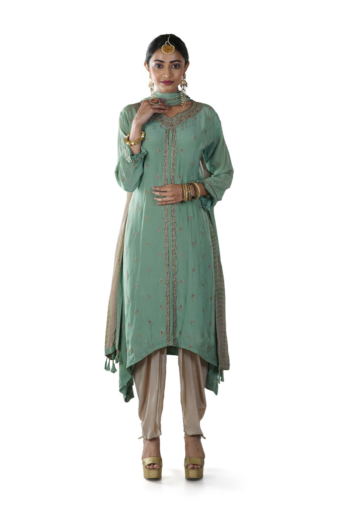 Green Hand Embroidered High Low Kurta paired with a Beige Dhoti & Tie & Dye