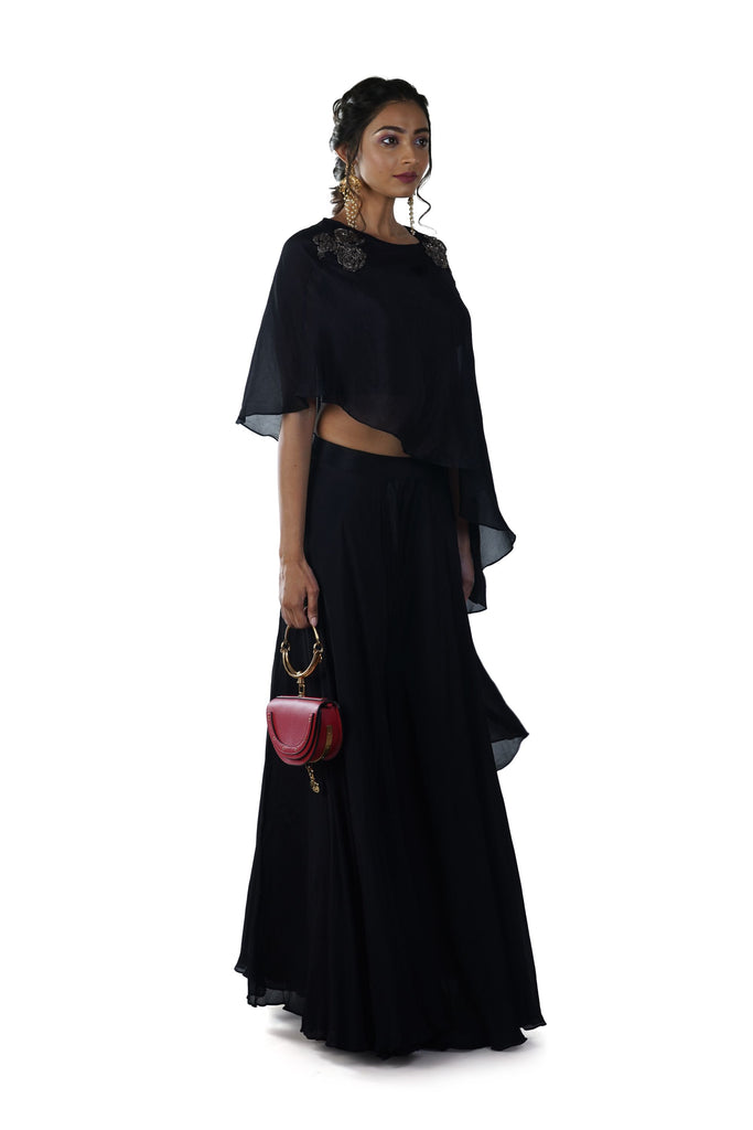 Black Crop Top & Sharara Set paired with a Rose Hand Embroidered Asymmetrical Cape