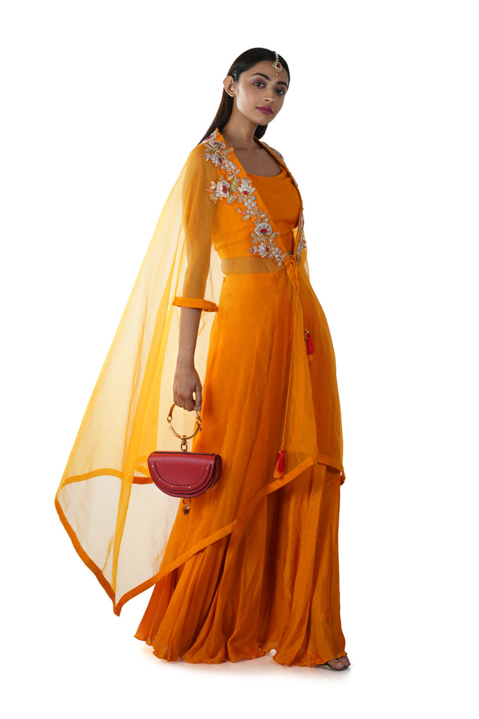 Yellowish Orange Crop Top & Palazzo Set with a Hand Embroidered Floral Threadwork Tie-Up Cape with pleats