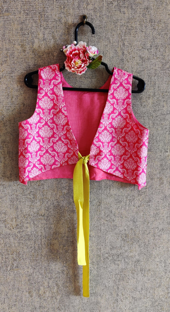 PINK CROP TOP WITH MULTICOLOUR GHAGHRA