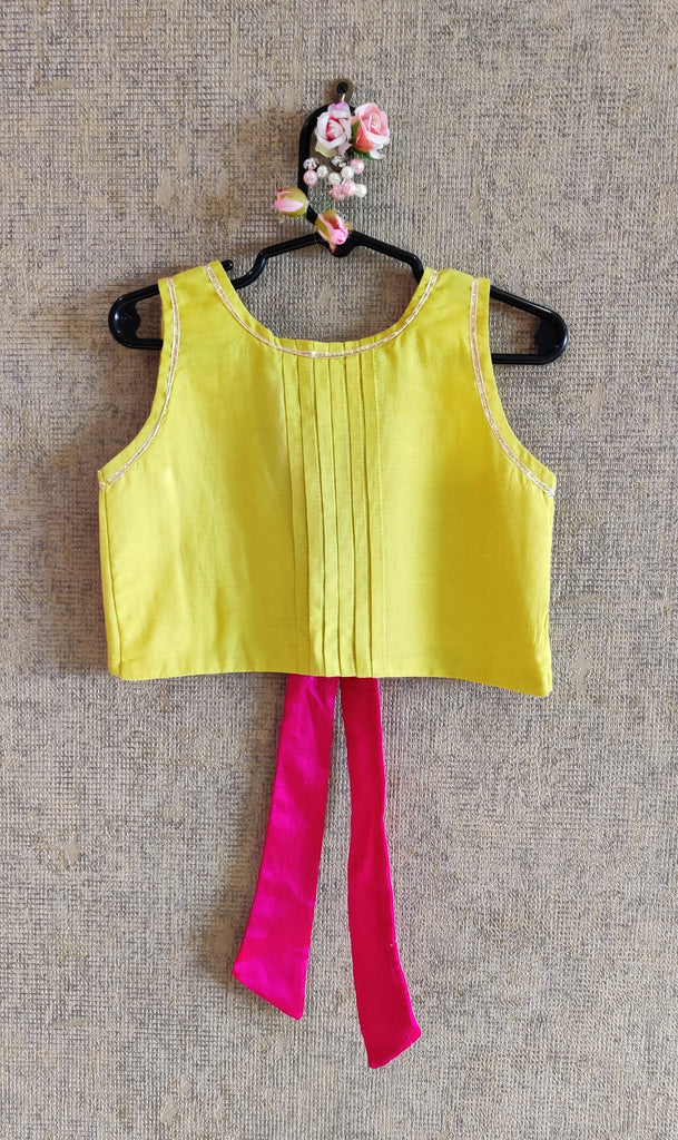 YELLOW TOP WITH MULTICOLOUR GHAGHRA