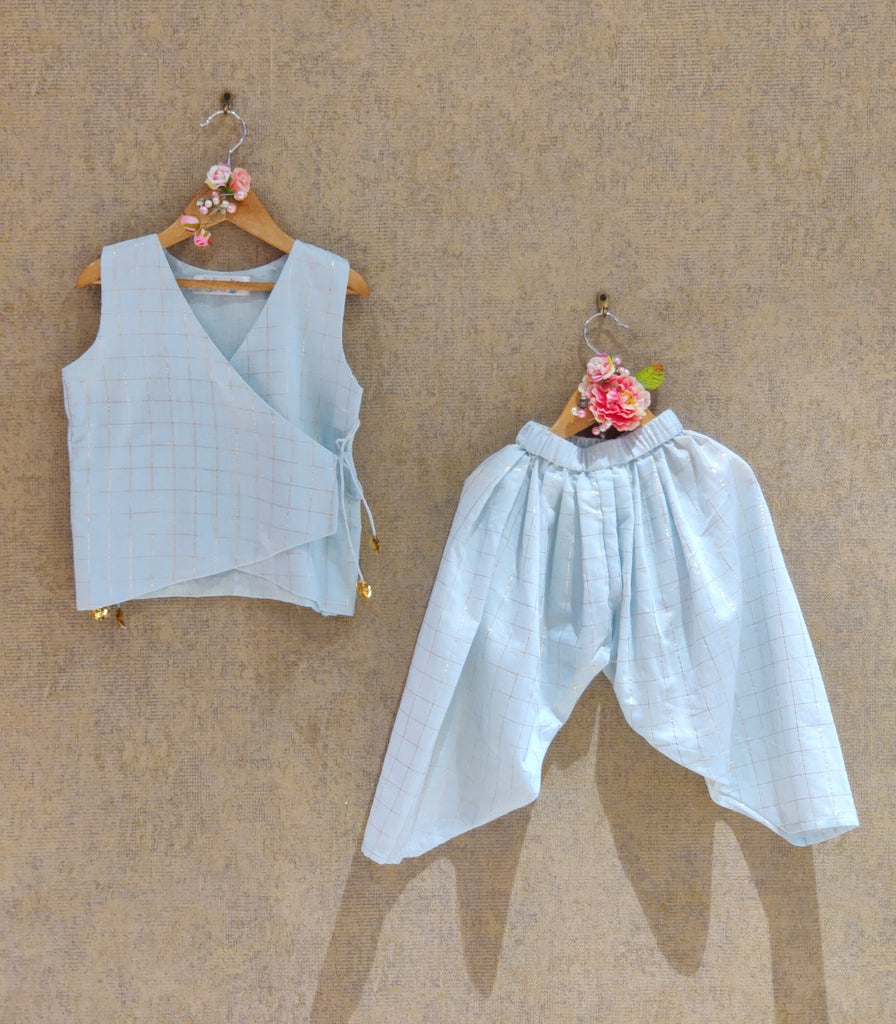 POWDER BLUE DHOTI SET
