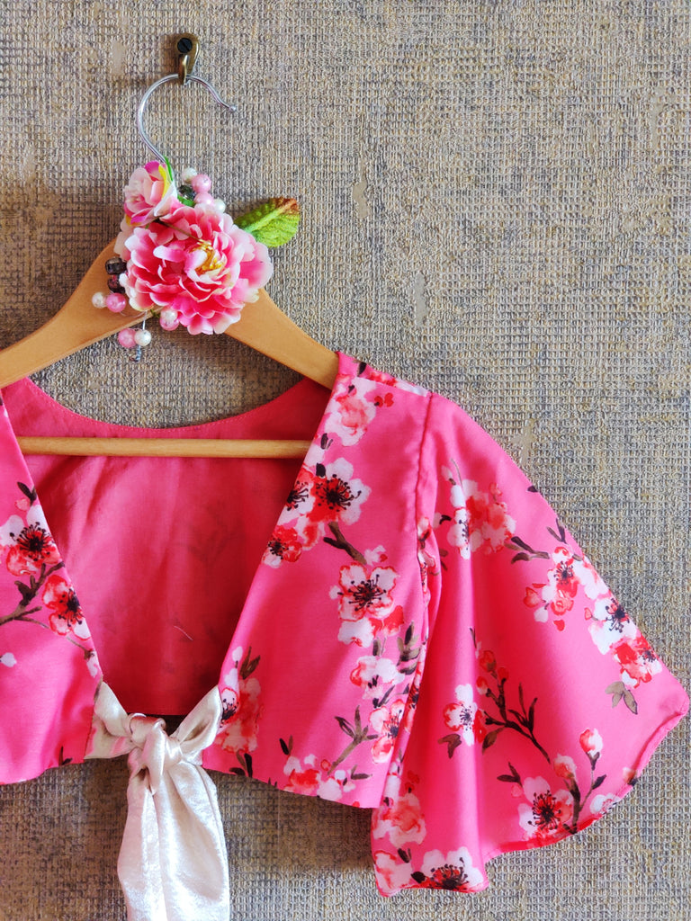 FLOWER PRINT CROP TOP AND GHAGHRA