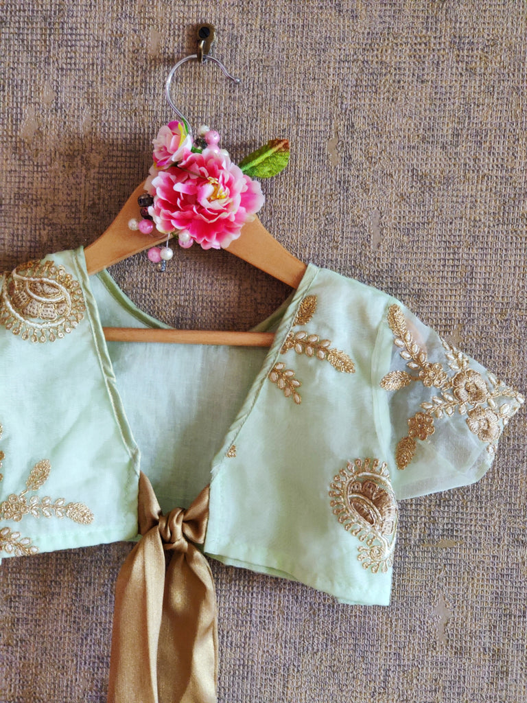 PASTEL GREEN TOP WITH GOLDEN EMBROIDARY AND GHAGHRA