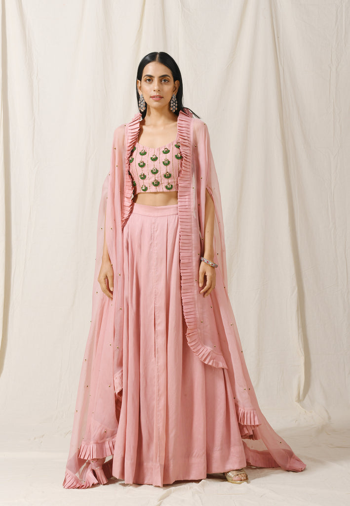 Onion Pink Palazzos with Onion Pink Cape