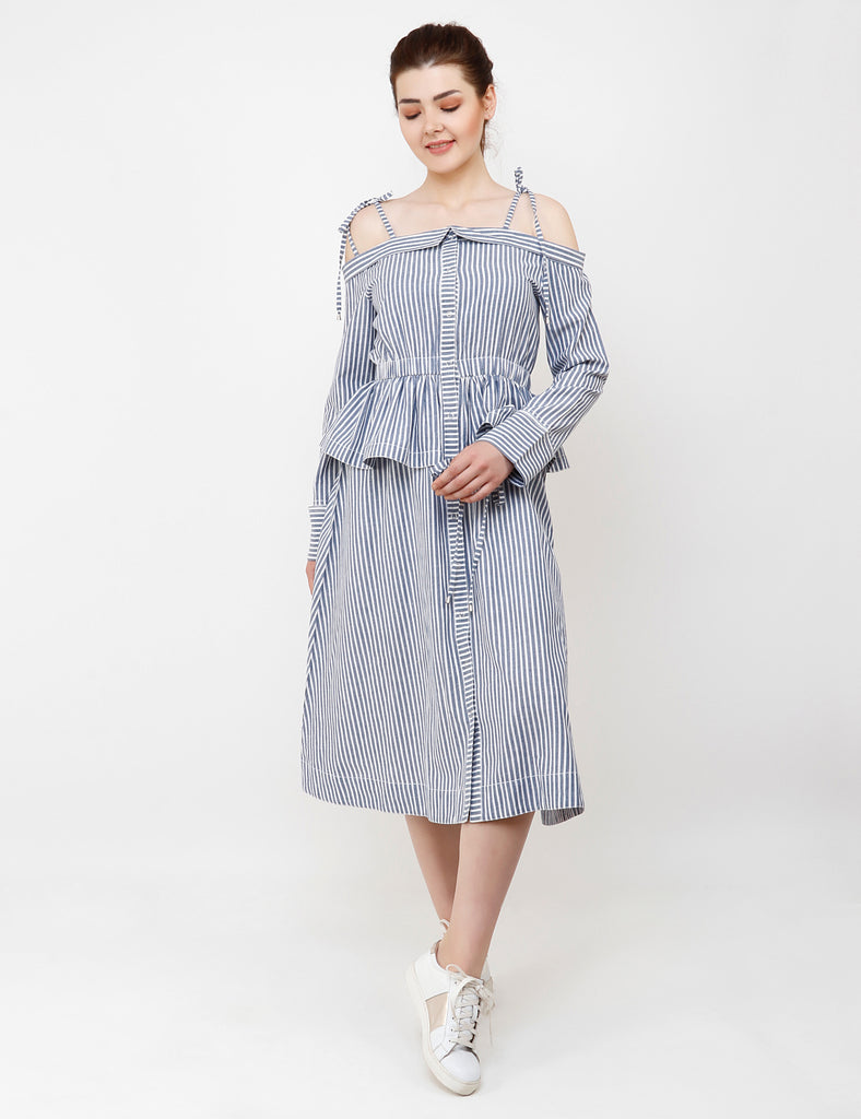 GREY-WHTE OFF SHOULDER DRESS