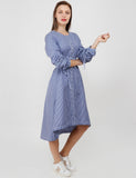 BLUE-WHITE TIE UP SLEEVES DRESS