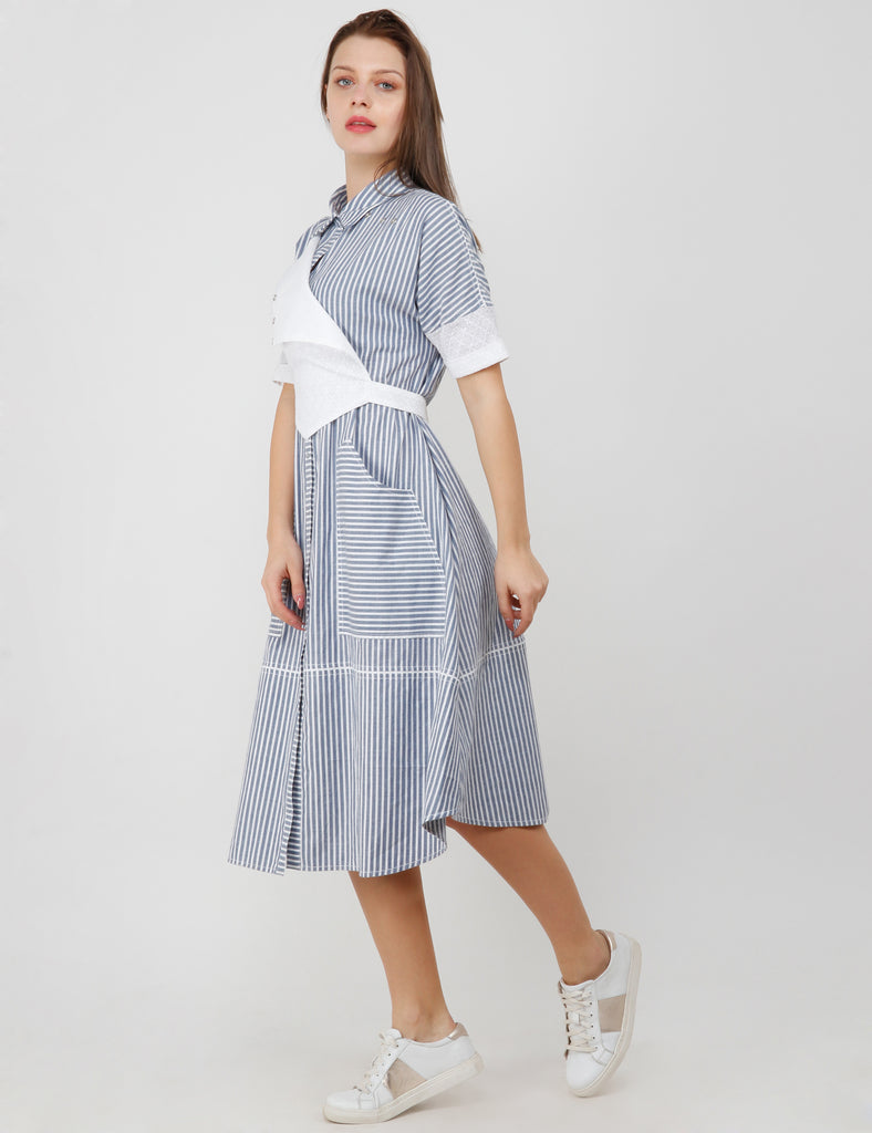 SCHIFFILI LAYER DEATIL SHIRT DRESS.