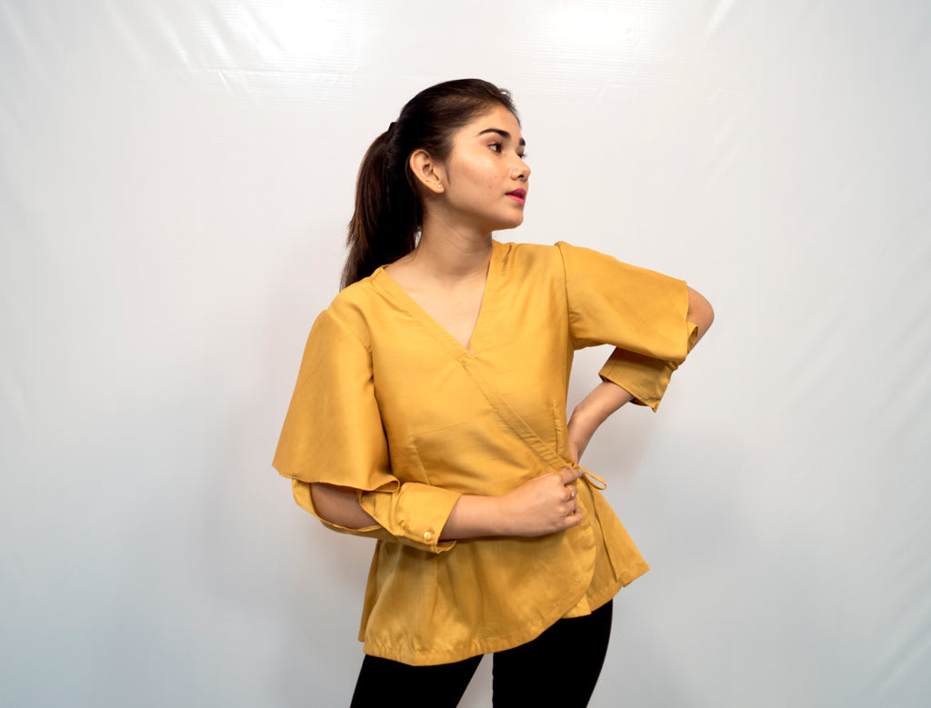 Mustard Yellow Cut Sleeve Top
