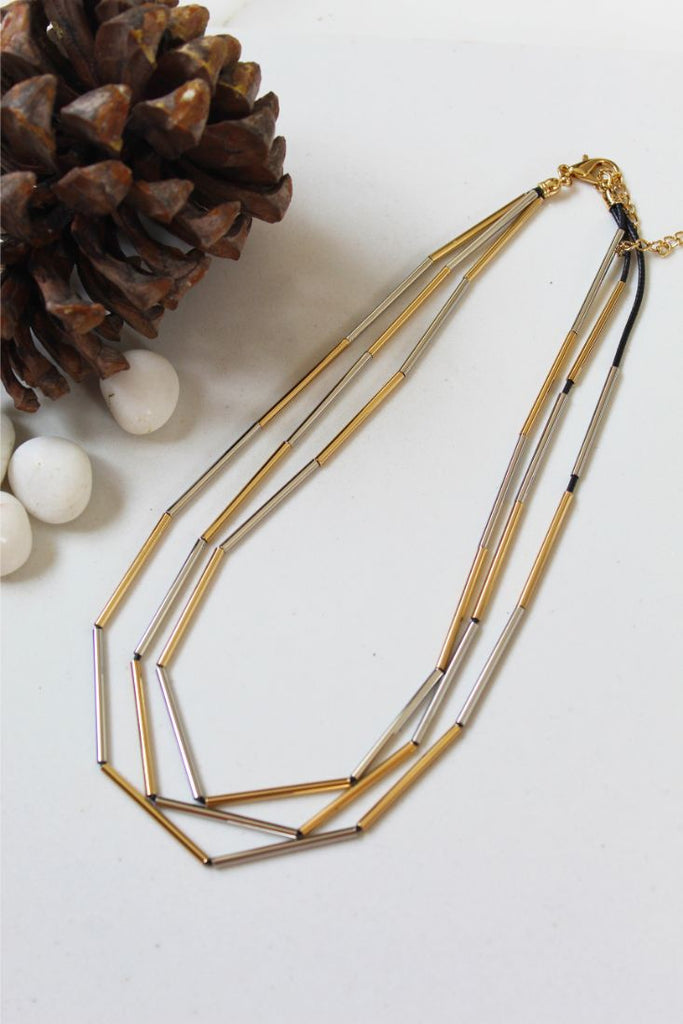 Yellow & White Gold Facet Necklace