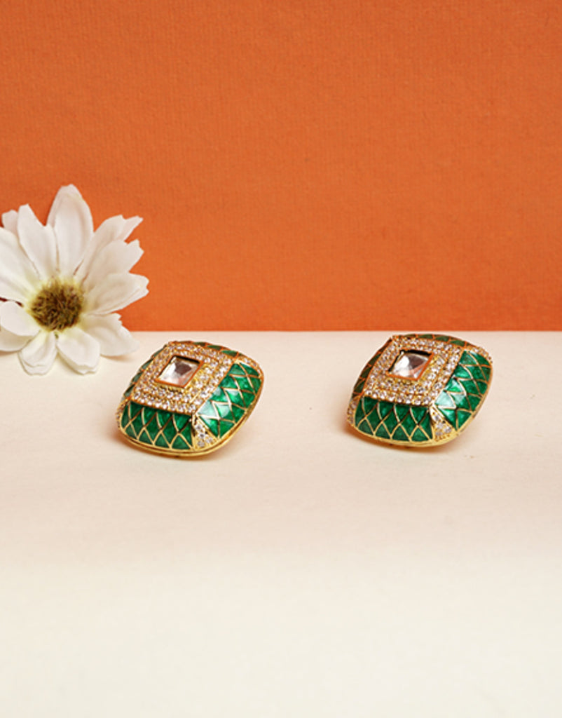 Green Meenakari studs with kundan and american diamonds
