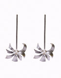 Long floral earrings in Silver Polish