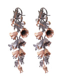 Black and Gold Floral Earrings