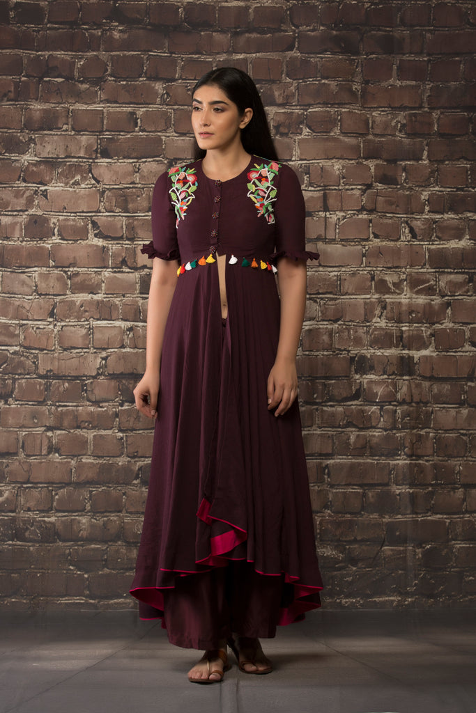Deep wine dress style kurta  paired with matching pants