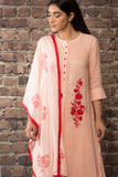 Baby pink linen silk kurta  paired with matching pants and dupatta with khadi print.