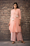 Old rose pink linen silk kurta  paired with matching pants