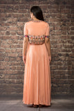 peach chinon chiffon dress .