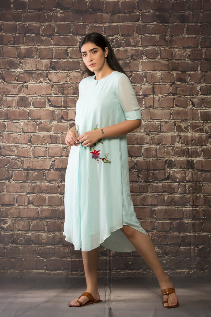 sky blue linen georgette tunic