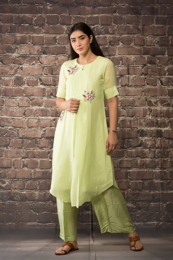 sea green handloom linen twill dress