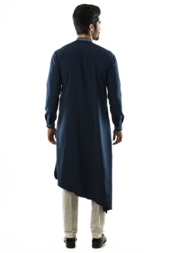 Navy Blue Drape Kurta in Twill Fabric with Motif embroidery in Silver Zari. Paired with Narrow fitted Pant Style Pajamas