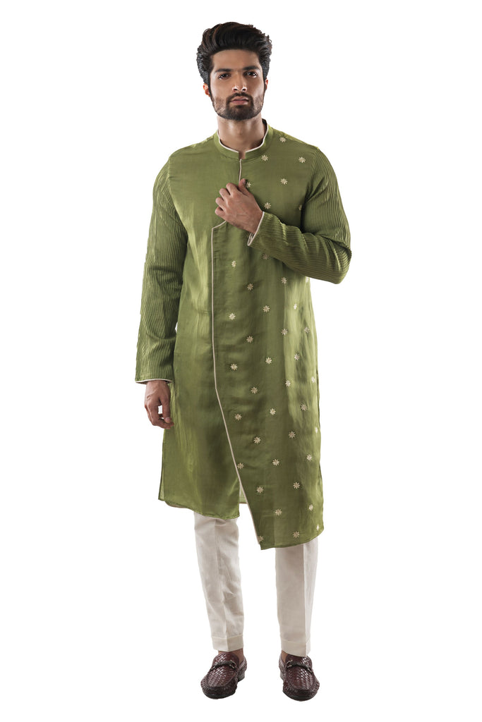 Grass Green Kurta Set With Motif Embroidery and Pintucks Detailing. Paired with Cream Pant Style Pajamas.
